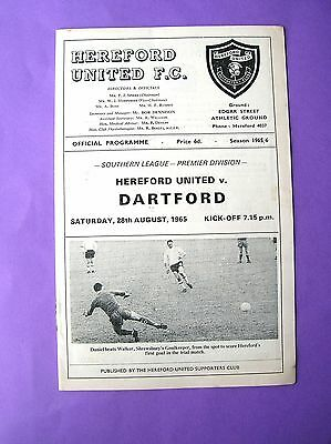 Hereford United v Dartford 28 Aug 1965 EXC condition