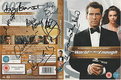 "James Bond ""The World is Not Enough"" DVD Cover Auto by 9 Actors"
