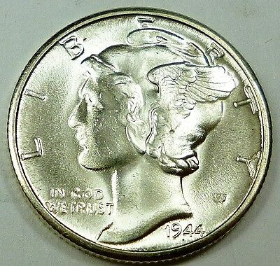 1944-D United States Mercury Head Dime - CH-BU Choice Brilliant Uncirculated