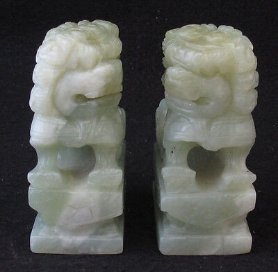 Green Asian Foo Dogs Fu Dogs Statues Figures Pair Carved Resin Unmarked