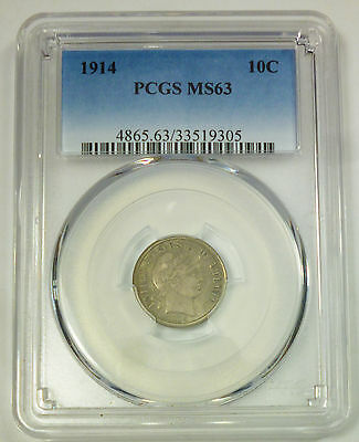 1914 PCGS MS 63 United States Barber Head Dime