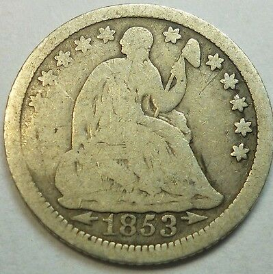 1853 United States Seated Liberty Half Dime Good G Condition