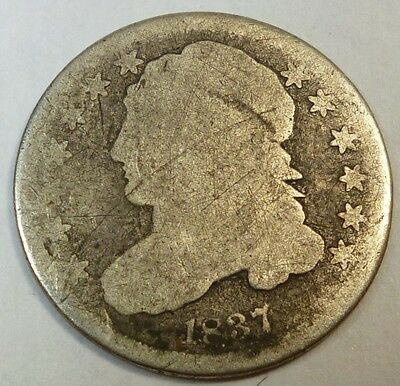 1837 United States Capped Bust Dime AG About Good Condition