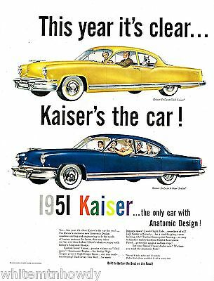 1951 KAISER Yellow Deluxe Club Coupe & Blue 4-door Sedan Antique Car AD