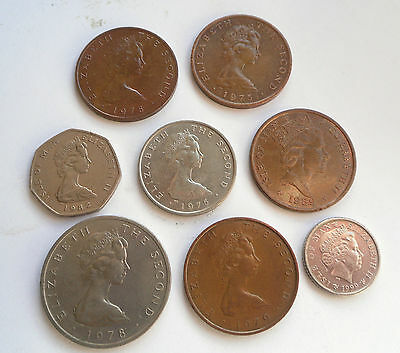 Isle of Man, Group of 8 coins as shown.