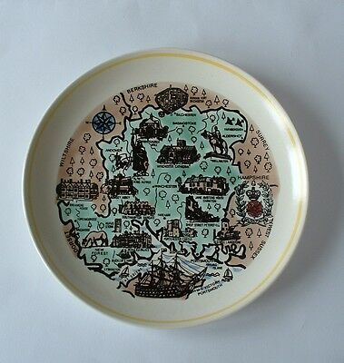 Attractive POOLE Pottery Map Plate  -  Map of Hampshire