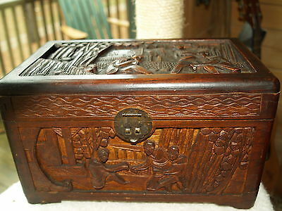 Antique Hand-Carved Camphor Wood Chest Box