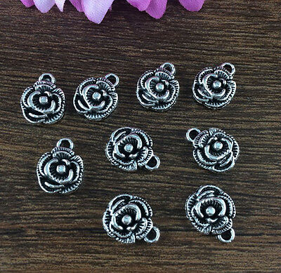 Wholesale 12pcs Tibet silver Rose Charm Pendant beaded Jewelry Findings DIY W3A