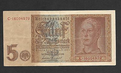 Germany 5 Reichsmark 1942 banknote