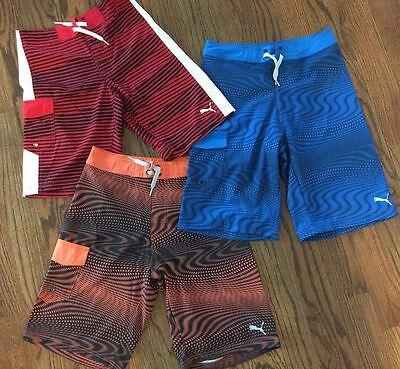 PUMA Boys Board Shorts Bathing Suit Quick Dry Drawstring Waist-NWT-MSRP-$40