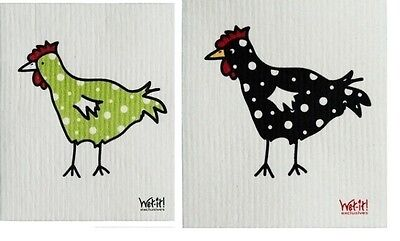 Wet-It Green and Black Spotted Chicken Swedish Dishcloths Towels Set of 2