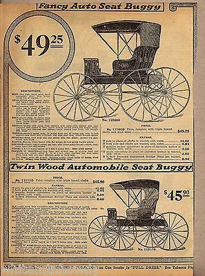 1915 Fancy Auto Seat & Twin Wood Horse BUGGY AD Advertising