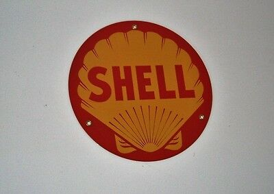 Advertising Enamel Sign  SHELL Petrol / Oil Garage Sign 1980's - Good and Unused