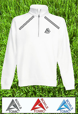 Atomic Bowls Mens Womens Unisex Lawn Bowls White Zip Neck Sweatshirt Jacket