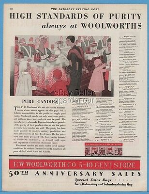 1929 F. W. Woolworth Co 5 10 Cent Store Candy Counter 1920's Art Deco Ad