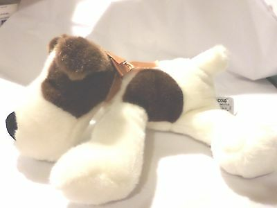 Russ Berrie Hiccup Plush Dog Fox Terrier ? Blk Nose White Brown Spots Super Soft