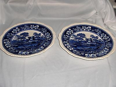 2 Vintage Copeland Spode Blue Tower China Dinner Plates Gadroon Older NICE