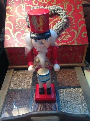 VINTAGE 10in RED/NUTCRACKER HANDPAINTED COLLECTORS ITEM, VERY RARE ITEM, Drummer