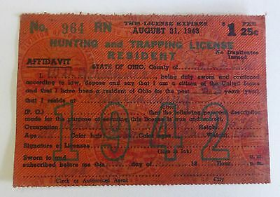 Hunting Trapping License 1942 Resident Ohio Back Tag