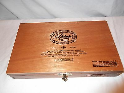 Nice solid wood cigar box with hinged lid, fitted interior. Padron Exclusivo