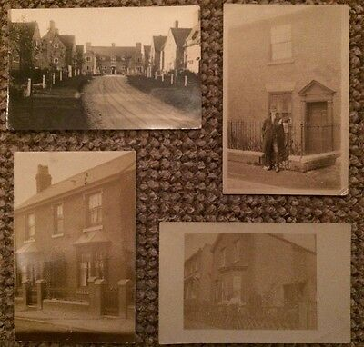 Collection of four unknown houses - streets - RP postcards - possibly London