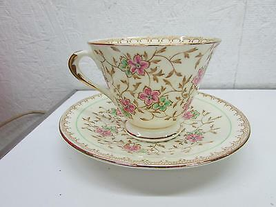 Plant Tuscan China Tea Cup & Saucer  Hand Painted Flowers & Gold