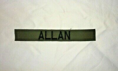 CUSTOM OLIVE GREEN EMBROIDER NAME TAPE VARIOUS COLOR LETTERS Velcro® Option