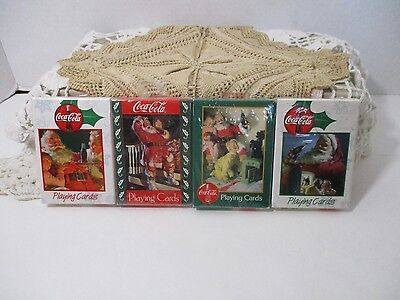 4-Decks Of Coca Cola Playing Cards Sealed Nos-1996-1999