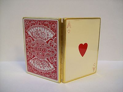 ULTRA Rare Figural DECK of CARDS Ace of Hearts Powder Compact Vintage LELONG