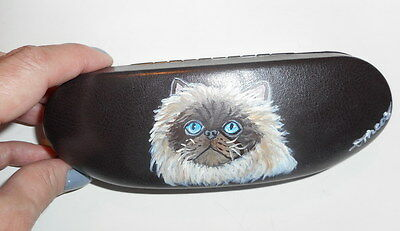 Himalayan cat Hand Painted Eyeglass case Simulated Leather