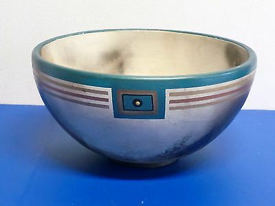 Pottery Art Bowl Signed Brown Turquoise Handcrafted Large Centerpiece