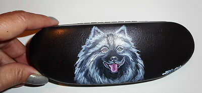 Keeshond Dog Hand Painted Eyeglass case faux Leather