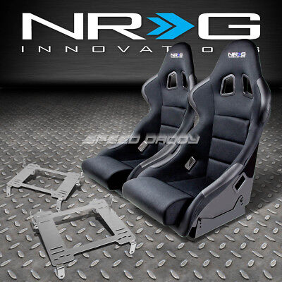 Nrg Type-R Deep Bucket Racing Seat+Stainless Steel Bracket For Civic Fg2 Fa1 Fd2
