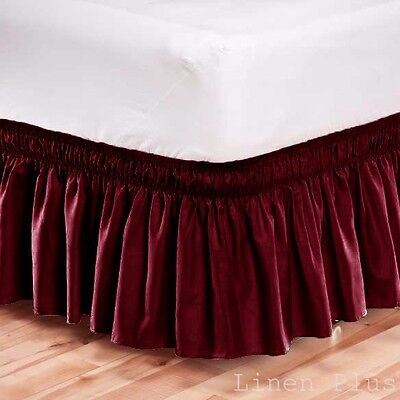 Elastic Bed Skirt Dust Ruffle Easy Fit Wrap Around Burgundy Color King Size