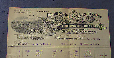 Antique 1900 Italian Swiss Fine Wines Battery Street San Francisco Ca Bill Head