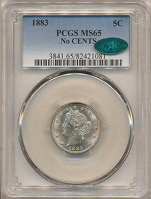 1883 No Cents Liberty Nickel Ms65 Pcgs Cac