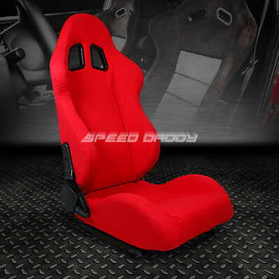 Fully Reclinable Upholstery Sports Racing Seat+Mount Slider Red Passenger Side