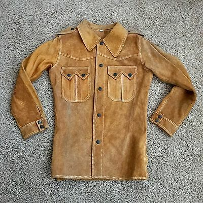 Genuine Leather  Suede Vintage Western Rust Shirt Jacket Size S
