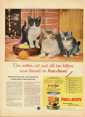 1958 Vintage ad for PUss'n Boots Cat Food~mother cat/kittens/tabby (110713)