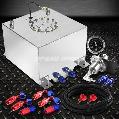 5 Gallon Aluminum Fuel Cell Tank+Cap+Feed Line Kit+1:1 Pressure Regulator Silver