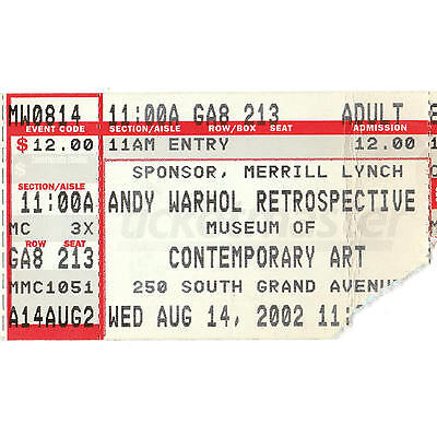 ANDY WARHOL Contemporary Art Ticket Stub 8/14/02 LOS ANGELES CALIFORNIA MUSEUM
