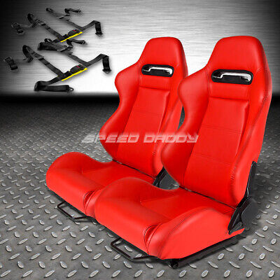 Type-R Red Pvc Leather L&R Racing Seats+Universal Slider+2X 4-Point Harness Belt