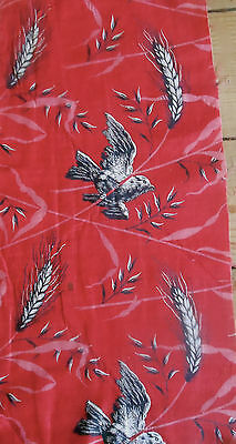 Antique 19thc Red Black Pink White Bird Wheat Cotton Fabric ~ #1