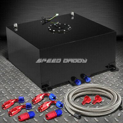 15.5 Gallon Black Aluminum Fuel Cell Tank+Cap+Level Sender+Steel Fuel Line Kit