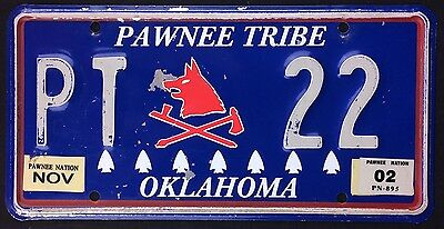 Oklahoma 2002 PAWNEE TRIBE NATION NATIVE AMERICAN TRIBAL License Plate!