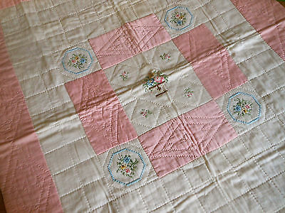 Antique Child's Baby Crib Quilt ~ hand cross stitch floral basket ~ pink blue
