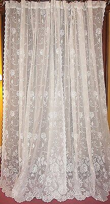 Vtg White French Country Victorian Chic Roses Net Floral Lace Drapes Curtains 84
