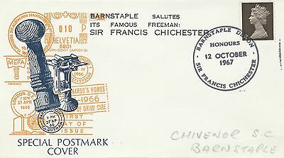 1967 GB Sir Francis Chichester Commem Cover 4d Stamp Barnstaple PMK Ref: MT403