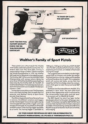 1986 WALTHER GSP Satin & Lightweight Pistol Handgun UK AD