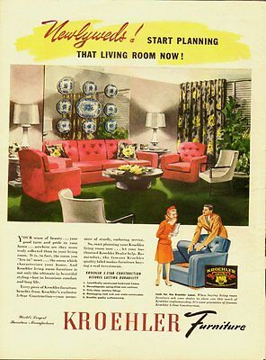 1959 Vintage ad for KROEHLER Furniture/50's household Fashions (060513)